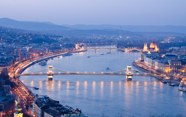 Night of Budapest, Hungary from Gellert hill.